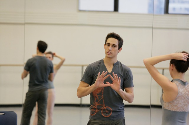 Justin Peck at work in the rehearsal studio. Photograph by Paul Kolnik