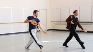 Pacific Northwest Ballet principal dancer Seth Orza rehearsing Apollo with PNB Artistic Director Peter Boal. Photograph by Lindsay Thomas.
