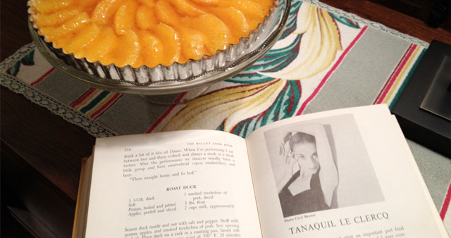 Tanaquil LeClercq's tarte à l'orange next to her cookbook