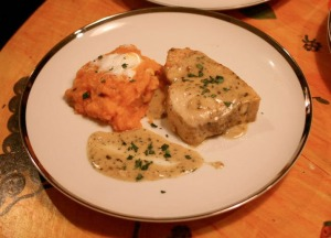 "The main course: swordfish tarragon and ""Just Yammy"""