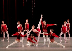 "Teresa Reichlen and New York City Ballet dancers in ""Rubies"" from George Balanchine's ""Jewels."" Photo: Paul Kolnik"